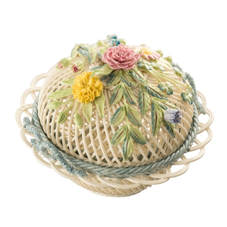 Belleek Classic Round Covered Basket  - Click to view a larger image