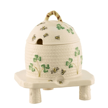 Belleek Classic Masterpiece Collection - Shamrock Honeypot  - Click to view a larger image