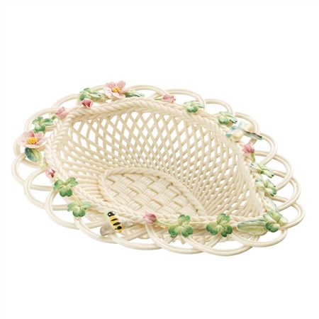Belleek Classic Wild Rose Leaf Basket  - Click to view a larger image