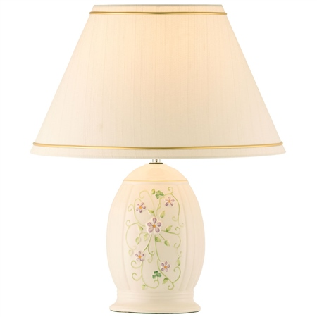 Belleek Classic Irish Flax Lamp & Shade  UK Fitting  - Click to view a larger image