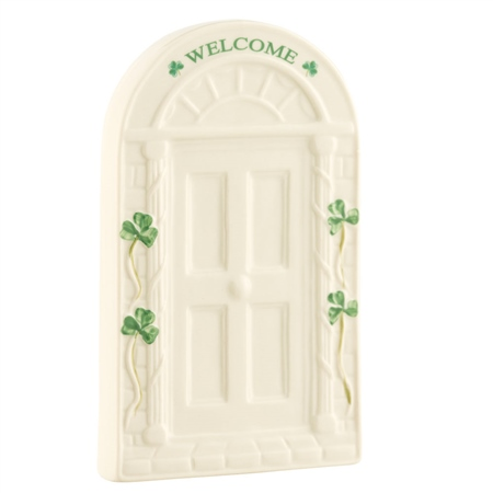 Belleek Classic Welcome Door Wall Plaque  - Click to view a larger image