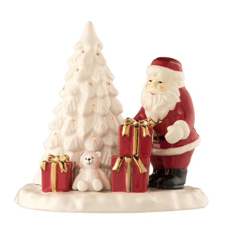 Belleek Living Santa and Christmas Tree Votive  - Click to view a larger image