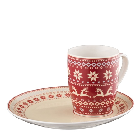 Aynsley Fairisle Mug and Tray  - Click to view a larger image