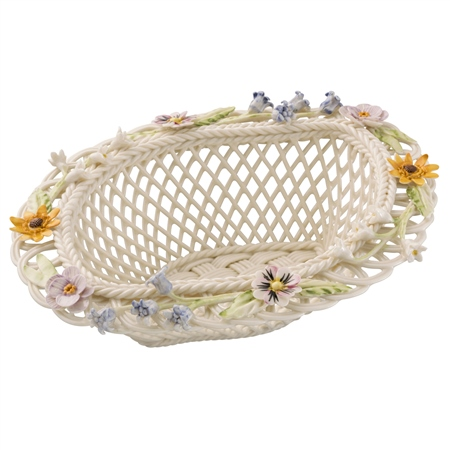 Belleek Living Spring Flowers Basket  - Click to view a larger image