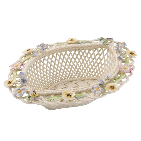 Belleek Living Summer Flowers Basket  - Click to view a larger image