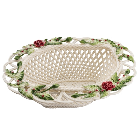 Belleek Living Winter Flowers Basket  - Click to view a larger image