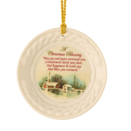 Belleek Classic Christmas Scene Ornament  - Click to view a larger image