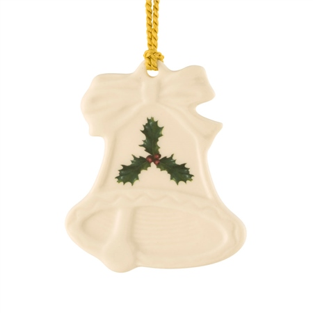 Belleek Classic Holly Bell Ornament  - Click to view a larger image