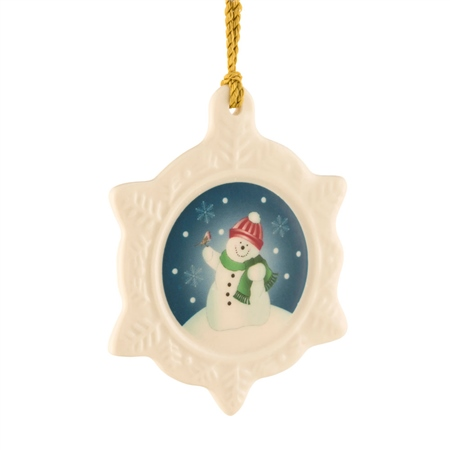Belleek Classic Snowman Ornament  - Click to view a larger image