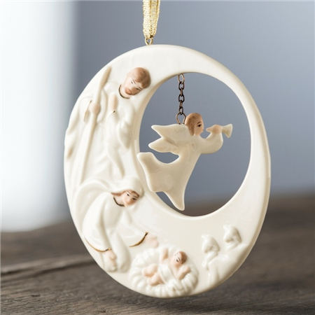 Belleek Living Nativity Angel Hanging Ornament  - Click to view a larger image