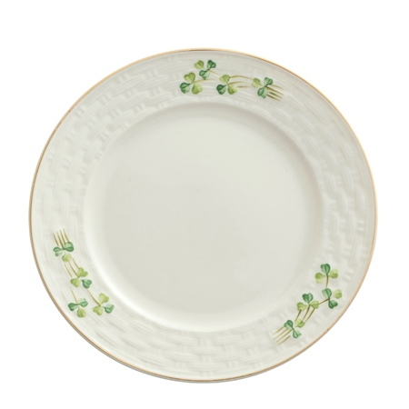 Belleek Classic 1880 - Gold Shamrock Dinner Plate  - Click to view a larger image
