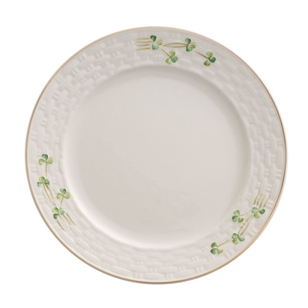 Belleek Classic 1880 - Gold Shamrock Salad Plate  - Click to view a larger image