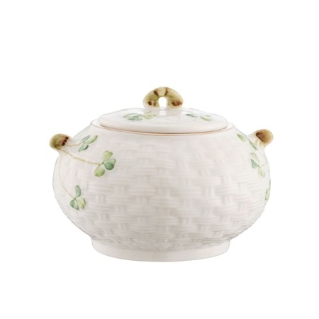 Belleek Classic 1880 - Gold Shamrock Sugar Pot and Lid   - Click to view a larger image