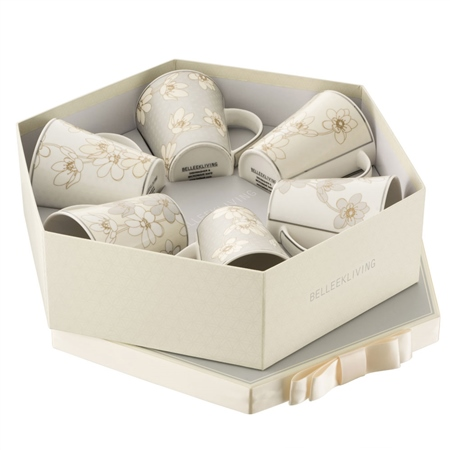 Belleek Living Bay Flowers 6 Mugs Hexagon Box  - Click to view a larger image