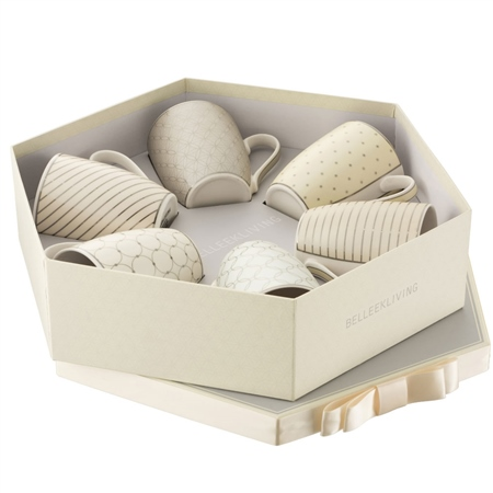 Belleek Living Geometric Pastles 6 Mugs Hexagon Box Belleek Living Geometric Pastles Mug Collection - Click to view a larger image