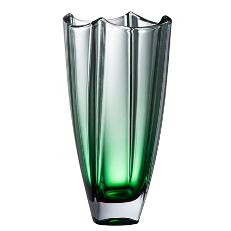 "Galway Crystal Emerald Dune 10"" Square Vase  - Click to view a larger image"