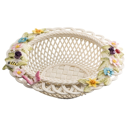 Belleek Classic Catalina Round Basket  - Click to view a larger image