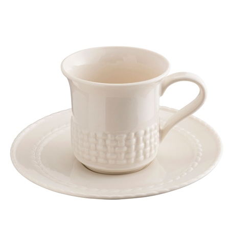Belleek Classic Galway Weave Cup & Saucer  - Click to view a larger image