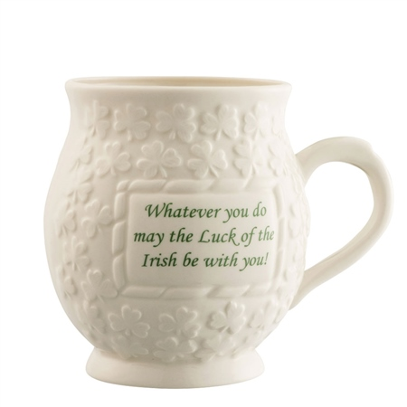 Belleek Classic May the luck of the Irish Mug  - Click to view a larger image