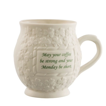 Belleek Classic May your Coffee be Strong Mug  - Click to view a larger image