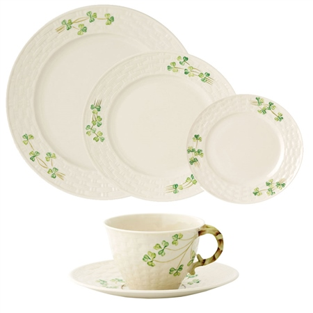 Belleek Classic Shamrock 5 Piece Dining Set Belleek Classic Shamrock Tableware 5 Piece Setting - Click to view a larger image