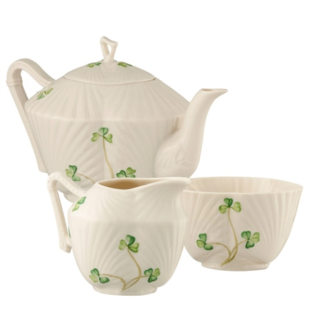 Belleek Classic Harp Shamrock Teaset  - Click to view a larger image