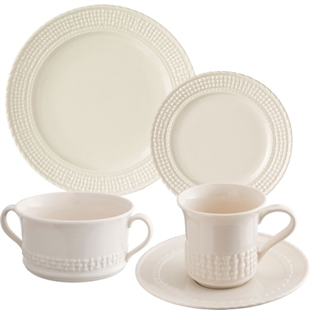 Belleek Classic Galway Weave 5 Piece Dining Set 1