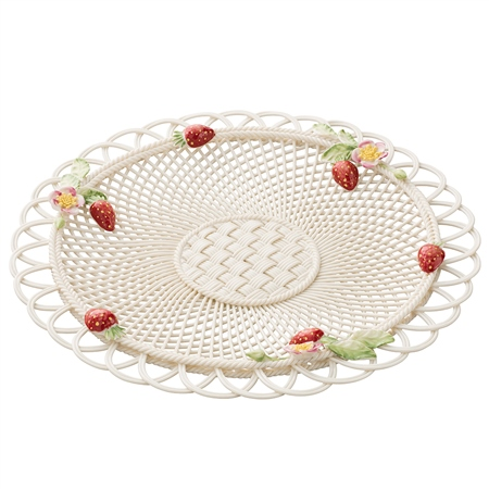 Belleek Classic Strawberry Basketweave Basket - Exclusive  - Click to view a larger image