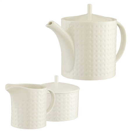 Belleek Living Grafton Teapot Sugar and Cream Set  - Click to view a larger image