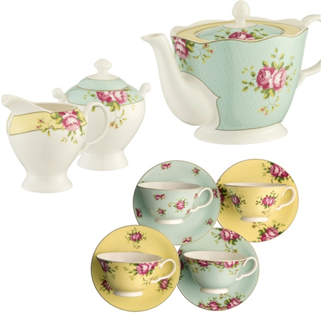 Aynsley Archive Rose Afternoon Teaset 1  - Click to view a larger image