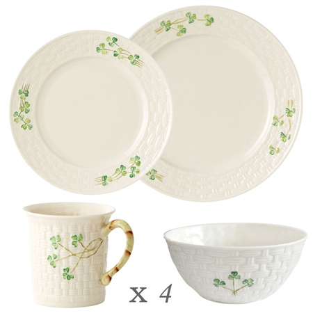 Belleek Classic Shamrock 16 Piece Dining Set  - Click to view a larger image