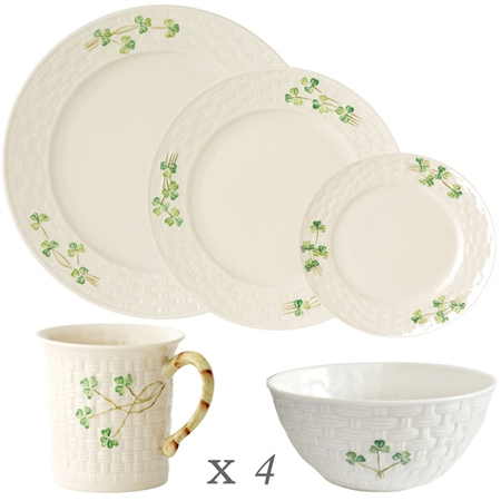 Belleek Classic Shamrock 20 Piece Dining Set  - Click to view a larger image