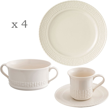 Belleek Classic Galway Weave 12 Piece Dining Set  - Click to view a larger image