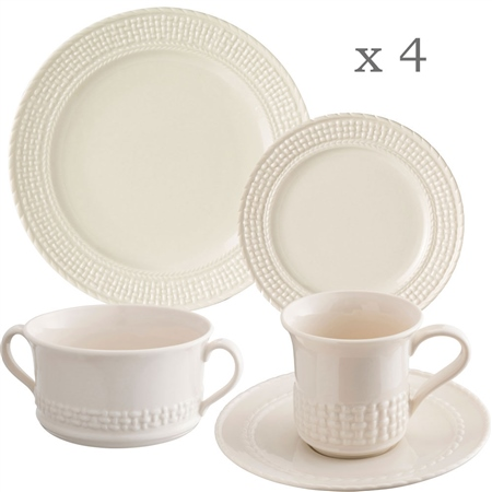 Belleek Classic Galway Weave 16 Piece Dining Set  - Click to view a larger image