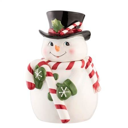 Aynsley Candy Cane Snowman Cookie Jar  - Click to view a larger image