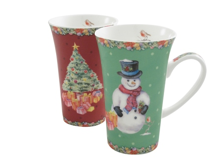 Aynsley Classic Christmas Latte Mugs Pair Aynsley - Classic Christmas Latte Mugs Pair - Click to view a larger image