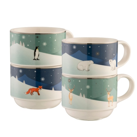 Aynsley Winter Animals Stacking Mugs  - Click to view a larger image