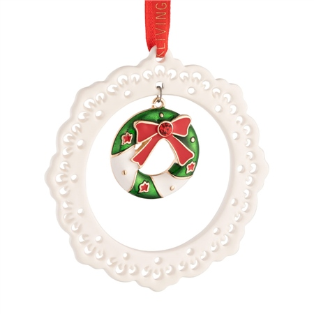 Belleek Living Pierced Wreath Ornament  - Click to view a larger image