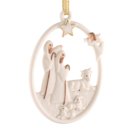 Belleek Living Shepherd's Nativity Ornament  - Click to view a larger image