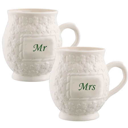 Belleek Classic Mr and Mrs Shamrock Mugs  - Click to view a larger image