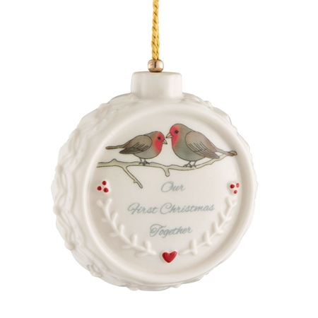 Belleek Classic Our First Christmas Ornament  - Click to view a larger image
