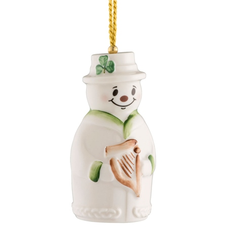 Belleek Classic Snowman Bell Ornament  - Click to view a larger image