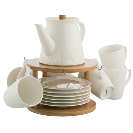 Belleek Living Pekoe 13 Piece Set & Stand Belleek Living Peko Teaware Set - Click to view a larger image
