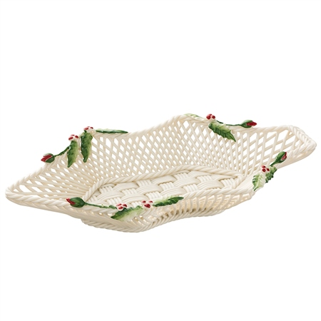Belleek Classic Holly & Ivy Basket  - Click to view a larger image