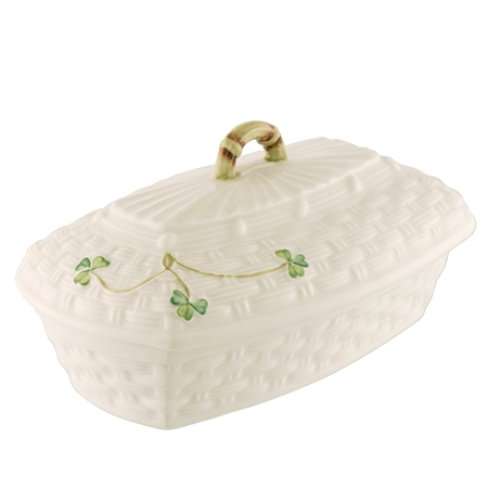 Belleek Classic Shamrock Butter Dish  - Click to view a larger image