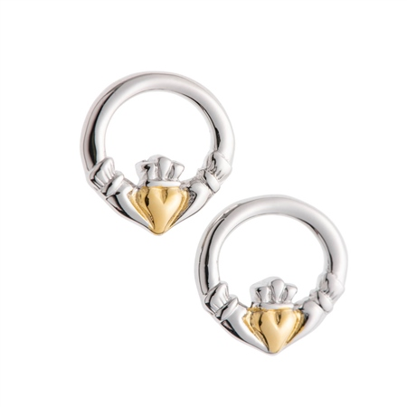 Galway Crystal Jewellery Claddagh Earrings Sterling Silver & Gold Galway Crystal Jewellery - Claddagh Collection - Click to view a larger image