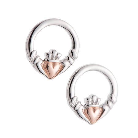 Galway Crystal Jewellery Claddagh Earrings Sterling Silver & Rose Gold Galway Crystal Jewellery - Claddagh Collection - Click to view a larger image