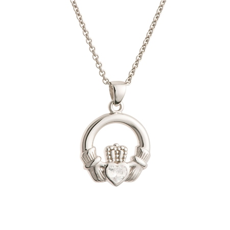 Galway Crystal Jewellery Claddagh Crystal Sterling Silver Pendant Galway Crystal Jewellery - Claddagh Collection - Click to view a larger image