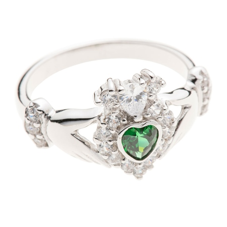 Galway Crystal Jewellery Green Crystal Sparkle Claddagh Sterling Silver Ring Galway Crystal Jewellery - Claddagh Collection - Click to view a larger image