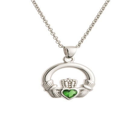 Galway Crystal Jewellery Green Crystal Claddagh Sterling Silver Pendant Galway Crystal Jewellery - Claddagh Collection - Click to view a larger image